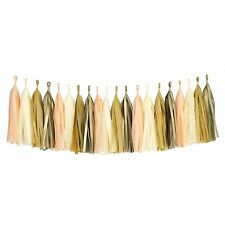 Peach Ivory Nude Gold Mylar Tassel Garland Banner Party Decoration Wedding Paper