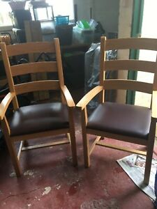 Oak Carver Dining Chairs. Pair. Brown Leather Seats.