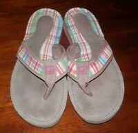 WOMENS Sperry Top Sider Pink Plaid Flip Flops Sandals Shoes Size 8 Slip Ons
