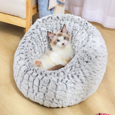 Pet Dog Cat Calming Bed Round Nest Warm Soft Plush Sleeping Bag Comfy Flufy Mat