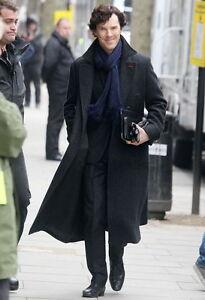 Sherlock Holmes Benedict Cumberbatch Wool Winter Coat Black/Grey Color