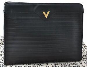 Authentic MARIO VALENTINO V Logo Clutch Bag Leather Black D4797