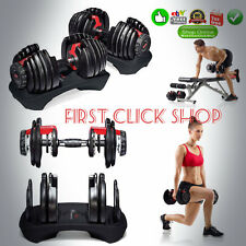 Adjustable Dumbbells Set of Two Steel Dumbbell Pair 5 to 52.5 Lbs Lifting Weight