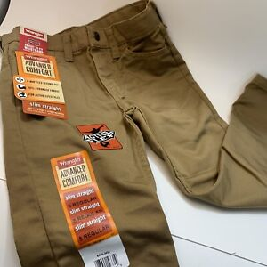 Boys Wrangler Jeans 5 pocket Skim Straight Comfort Flex Size 5 Tan