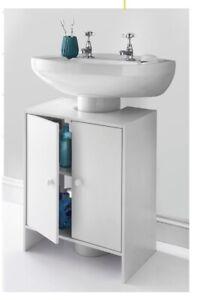 WHITE UNDER SINK BATHROOM STORAGE CABINET CUPBOARD VANITY UNIT 4 STORAGE SHELVES