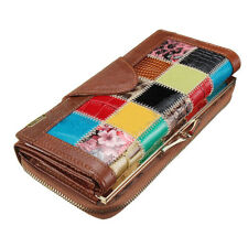 Women Ladies Leather Patchwork Wallet Long Zip Purse Card Holder Clutch Han O4I7