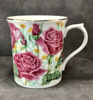 Vintage Lenox Flower Blossom Collection Rose Suzanne Clee Mug Cup Porcelain Pink