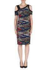 Joseph Ribkoff Black/Multicolor Textured Striped Sheath Dress US 8 UK 10 181341