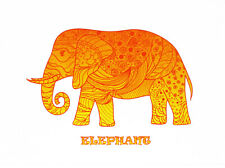 Orange Zentangle Elephant - Large Cotton Tea Towel