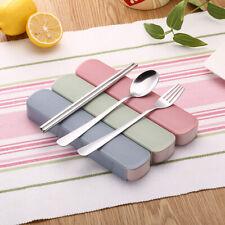 New 3pcs/set Spoon / Fork / Chopsticks Stainless Steel Travel Tableware Kid US