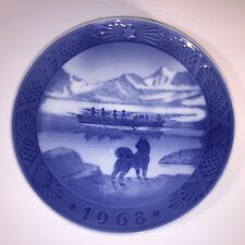 The Last Umiak in Greenland 1968 Royal Copenhagen Denmark Décor 7¼� Plate signed