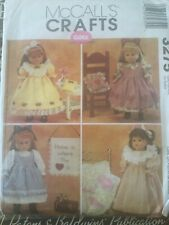 "McCalls Sewing Pattern 3275 18"" Doll Clothes & Craft Projects Quilt Dress Uncut"