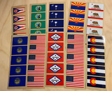 """All 50 State Flag & USA American Flag Sports Helmet Decal - 20MIL - 1.9"""" x 1.1"""""""