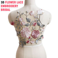 DIY Wedding Dress 3D Flower Lace Embroidery Bridal Beaded Pearl Applique Tulle