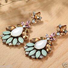 Ear Stud Hoop earrings 142 Handmade 1pair Multi-color Crystal Rhinestone Long