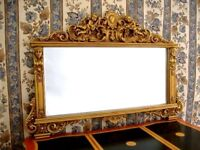 EN PROMOTION: Miroir à fronton cheminée mural anges glace biseautée d'un château
