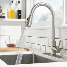 Kitchen Sink Faucet Pull Out Sprayer Single Hole Swivel Mixer Tap with 10
