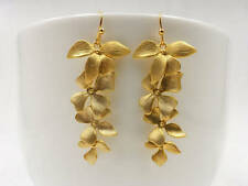Gold orchid matte gold flower long dangle earrings
