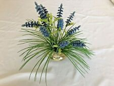 """Green Lavender 11"""" Flowers in Clear Glass Vase"""