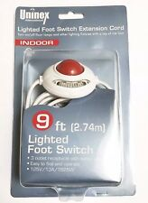 Christmas Light 9Ft Foot switch Lamp Extension Cord White Lighted Foot swich