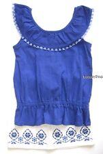 Gymboree Sparkle Safari Outfit 6 7 8 New Blue Top White Denim Jean Skirt Twins
