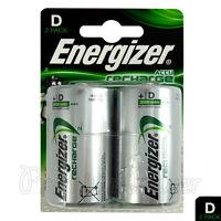 2 x Energizer Rechargeable D Size batteries Recharge Power NiMH 2500mAh LR20