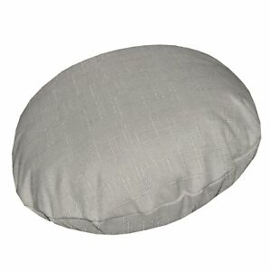 Qh10n Light Grey Thick Cotton Blend Round Cushion Cover/Pillow Case Custom Size
