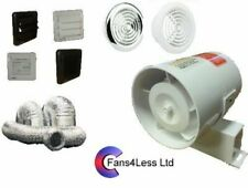 SF100 Timer Standard Inline Extractor Bathroom Fan 100m3/h With or Without Kit