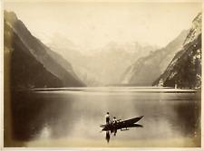 Allemagne, Deutschland, Bayern, Lac Königssee Vintage albumen print.  Tirage a