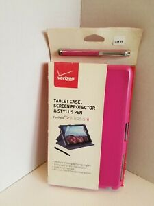 Verizon Folio Case Stylus Pen and Screen Protector Bundle for Ellipsis 8 - Pink