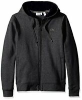 Lacoste - Men's SPORT Full-Zip Fleece Hoodie - Grey Chine/Navy Blue, Small