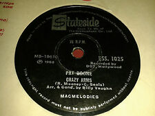 PAT BOONE:  PEARLY SHELLS / CRAZY ARMS.  India.78rpm Stateside 1965!!