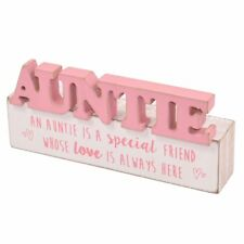 Special Auntie Sentiments From The Heart Word Block Plaque Lovely Gift Range