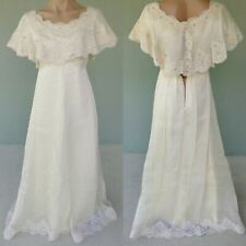 Vintage MAURER Satin Lace WEDDING DRESS Ivory Gown EMPIRE Short Sleeve CAPE S