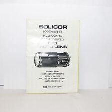 Usado Soligor 80-200mm F/4.5 Lente Manual Instrucciones Guía Japón O31244