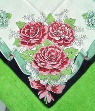 Vintage Big Red Floral Cotton Ladies Handkerchief