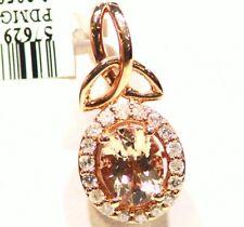 1.91CT 14K Gold Natural Morganite White Diamond Vintage Engagement Necklace Deco