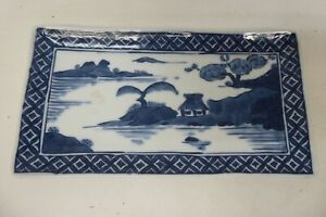 JAPANESE HAND PAINTED BLUE & WHITE LANDSCAPE PORCELAIN CHINA PLATE STAMPED BASE