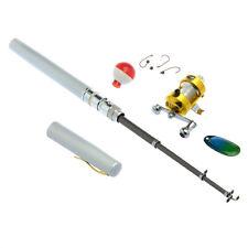Canne à Pêche Télescopique forme Stylo Portable 1 Mètre + Moulinet Bobine Fil