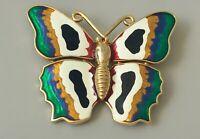 Vintage large butterfly  Brooch in enamel on gold tone Metal