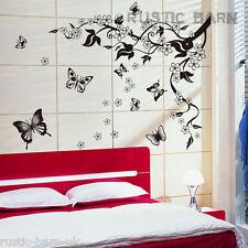 Cherry Blossom Fiore Farfalla Vite Decalcomania Home Decor Wall Sticker Arte Decal