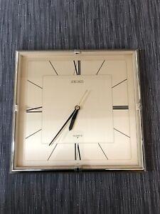 Vintage SEIKO gold finish THIN square wall clock. QSE630F. NICE & RARE! Tested!