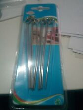 12 pinchos especiales para brochetas metalicos para barbacoa 10 cms aprox.