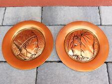 Vintage LOT 2 plat MURAL ALSACE costume ALSACIEN en CUIVRE Copper Plate Wall