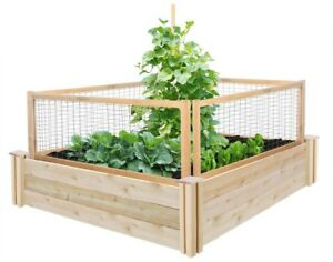 Raised Garden Bed 4 ft. x 4 ft. x 10.5 in. Cedar with CritterGuard Fence System