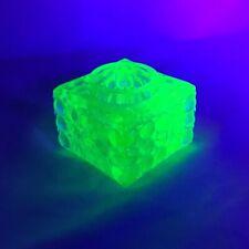 RARE Vintage Inkwell Uranium Light Green Vaseline Glass Hobnail Style