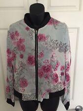 H&M Designer Womens Lightweight Long Sleeve Floral Bomber Jacket - Size 8 NEW
