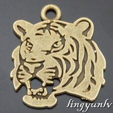 50515 Antique Bronze Alloy Tiger Head Pendants Charms Crafts Findings 10pcs