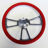 "Chevelle Nova Camaro Impala 14"" Steering Wheel Red and Billet Shallow Dish"