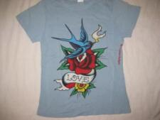 ED HARDY womens Med fits Small sky blue love bird t-shirt tee top cotton s/s NEW